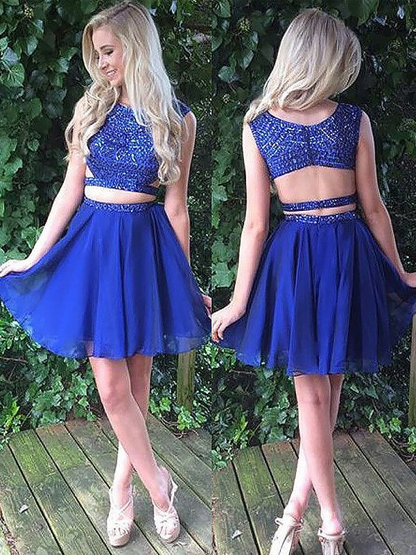 Royal Blue Chiffon Scoop A-line/Princess Short/Mini Homecoming Dresses