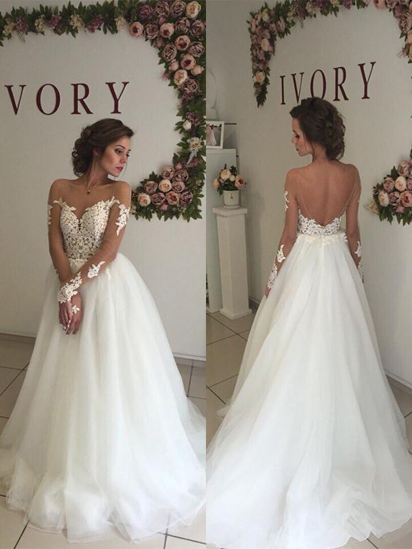 Ivory Organza Off-the-Shoulder A-Line/Princess Sweep/Brush Train Wedding Dresses