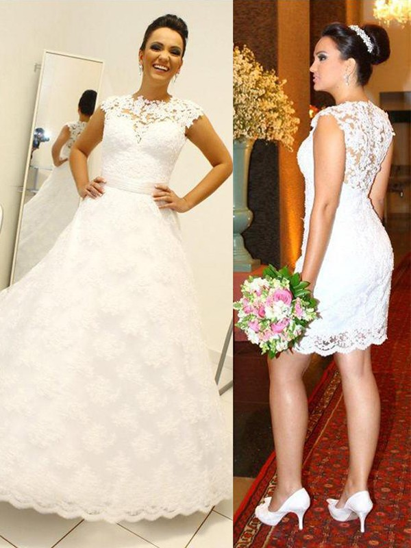 Ivory Lace Scoop Ball Gown Floor-Length Wedding Dresses