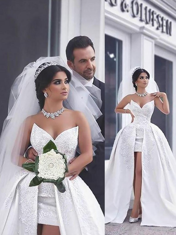 Ivory Satin Sweetheart Ball Gown Chapel Train Wedding Dresses