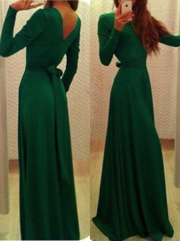 Dark Green Chiffon Bateau A-Line/Princess Sweep/Brush Train Dresses