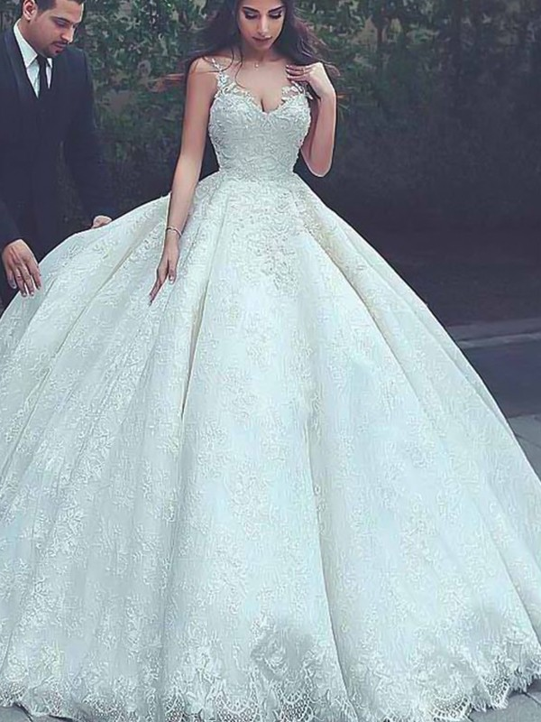 Ivory Tulle Spaghetti Straps Ball Gown Sweep/Brush Train Wedding Dresses