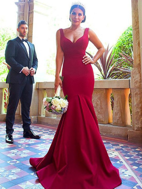 Red Elastic Woven Satin V-neck Trumpet/Mermaid Sweep/Brush Train Bridesmaid Dresses
