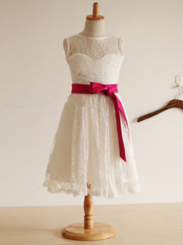 Ivory Lace Jewel A-Line/Princess Tea-Length Flower Girl Dresses