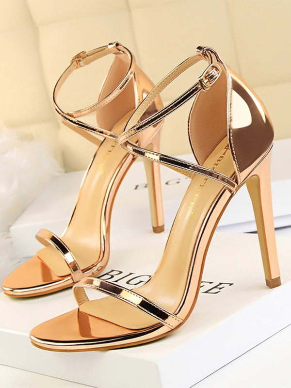Women Patent Leather Stiletto Heel Peep Toe Sandals