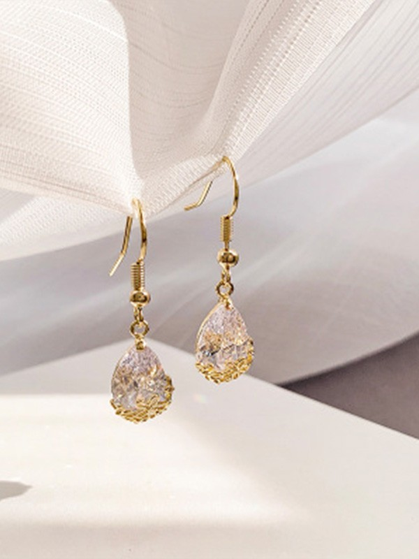 Ladies Pretty Rhinestone With Water Drop Earrings