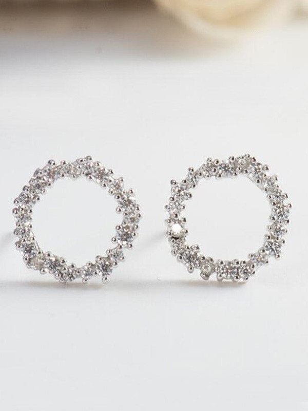 Attractive S925 Silver With Zircon Earrings