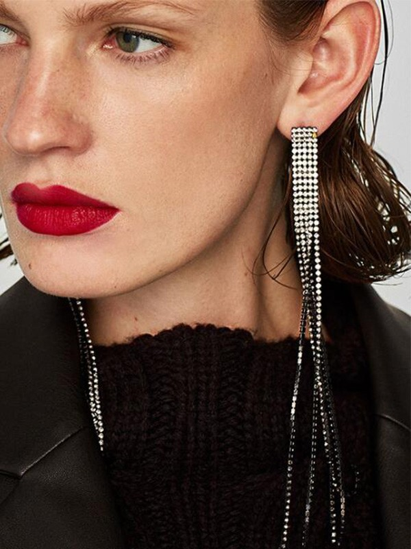 Gorgeous Alloy With Tassel Long Earrings For Women