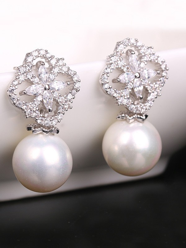 Graceful Copper With Zircon Imitation Pearl Hot Sale Earrings