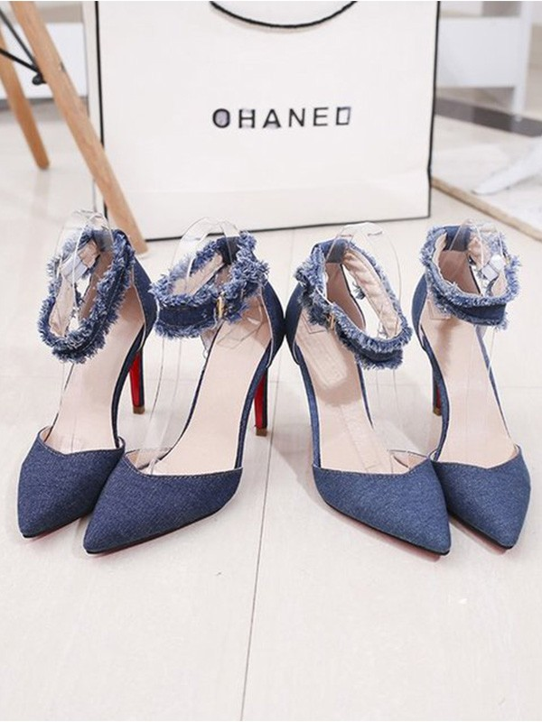 Women Jean Stiletto Heel Closed Toe Sandals
