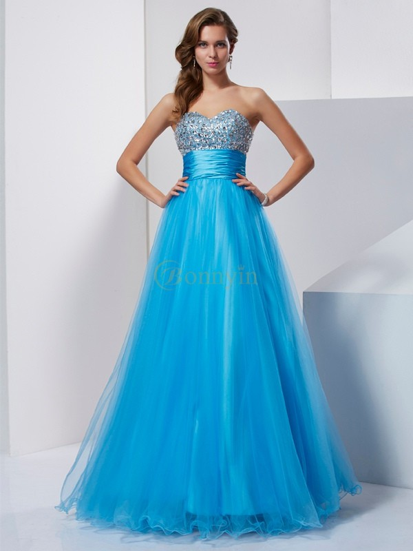 Blue Tulle Sweetheart A-Line/Princess Floor-Length Dresses