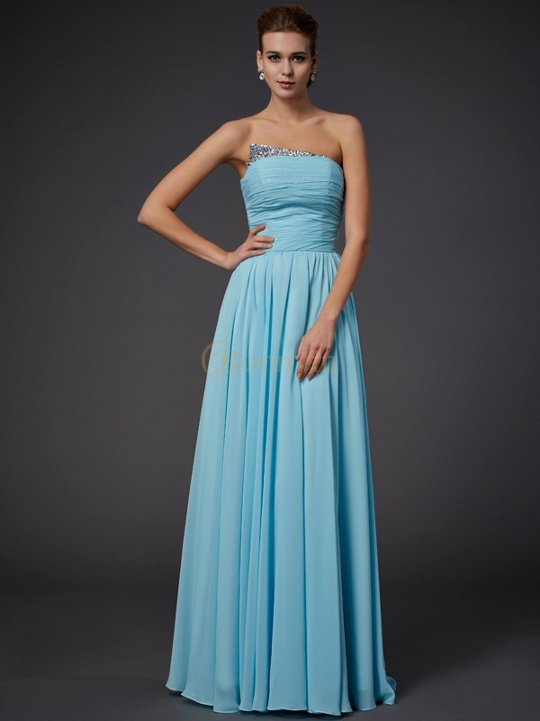 Blue Chiffon Strapless Sheath/Column Floor-Length Dresses