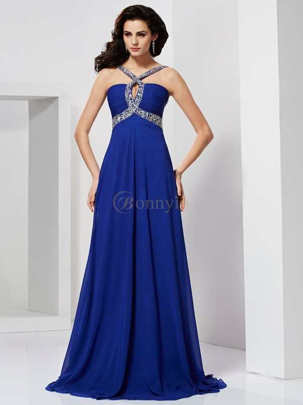 Royal Blue Chiffon A-Line/Princess Sweep/Brush Train Dresses