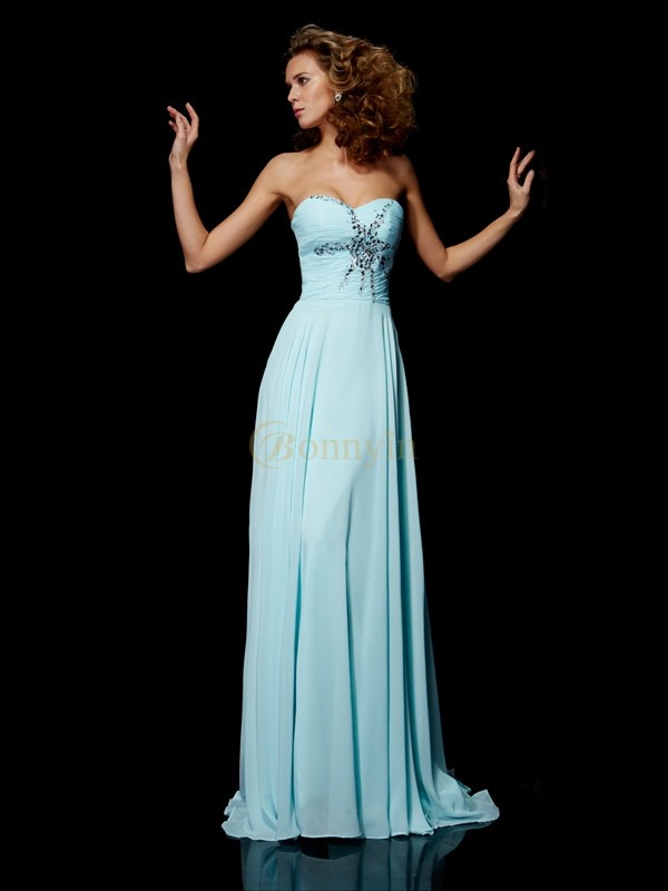 Blue Chiffon Sweetheart Sheath/Column Sweep/Brush Train Dresses