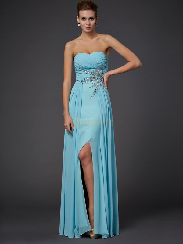 Blue Chiffon Sweetheart Sheath/Column Floor-Length Dresses