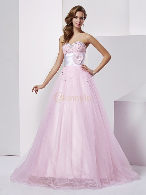Pearl Pink Elastic Woven Satin Strapless Sweetheart Ball Gown Floor-Length Dresses