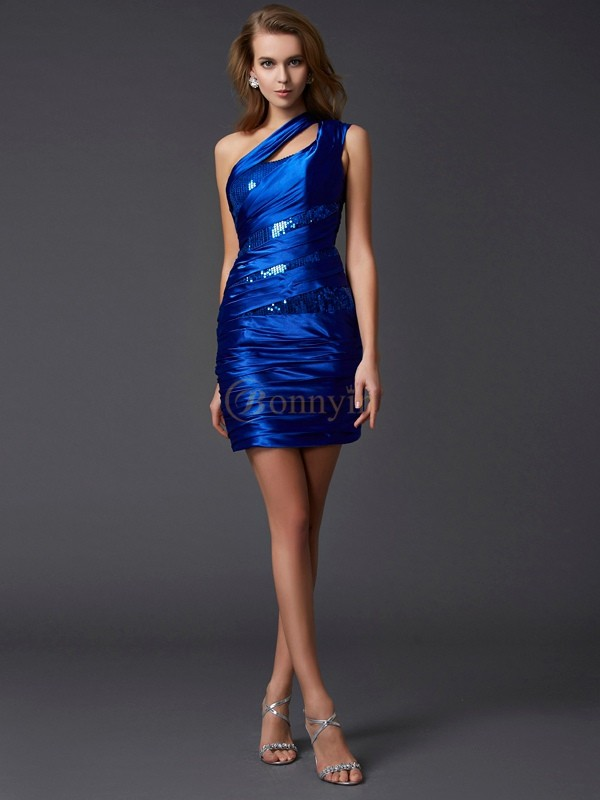 Royal Blue Silk like Satin One-Shoulder Sheath/Column Short/Mini Cocktail Dresses