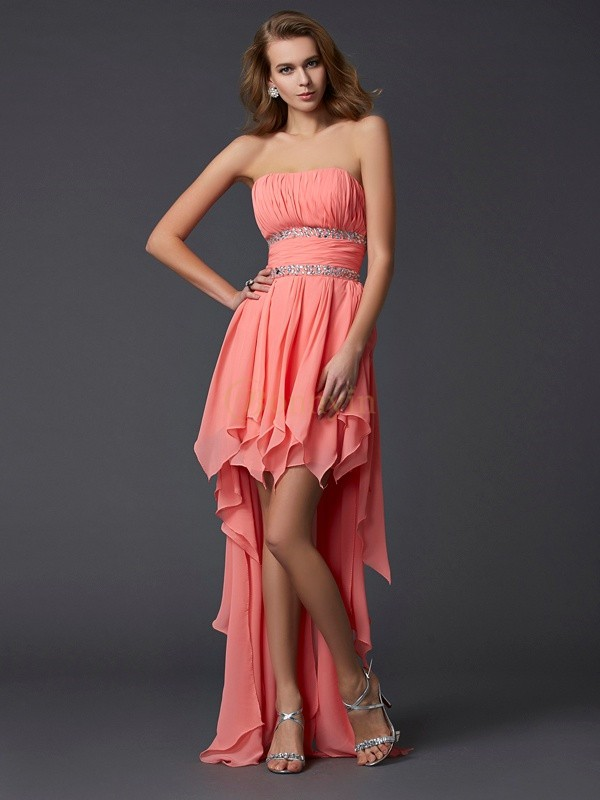 Watermelon Chiffon Strapless Empire Asymmetrical Cocktail Dresses