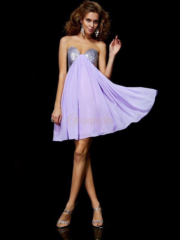 Lilac Chiffon Sweetheart Sheath/Column Short/Mini Cocktail Dresses