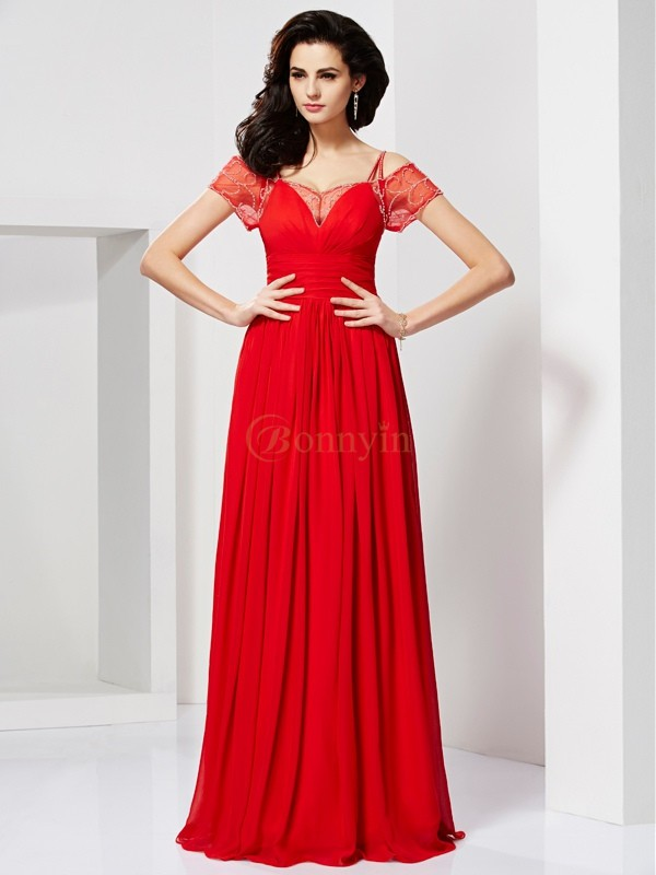 Red Chiffon Spaghetti Straps A-Line/Princess Floor-Length Dresses