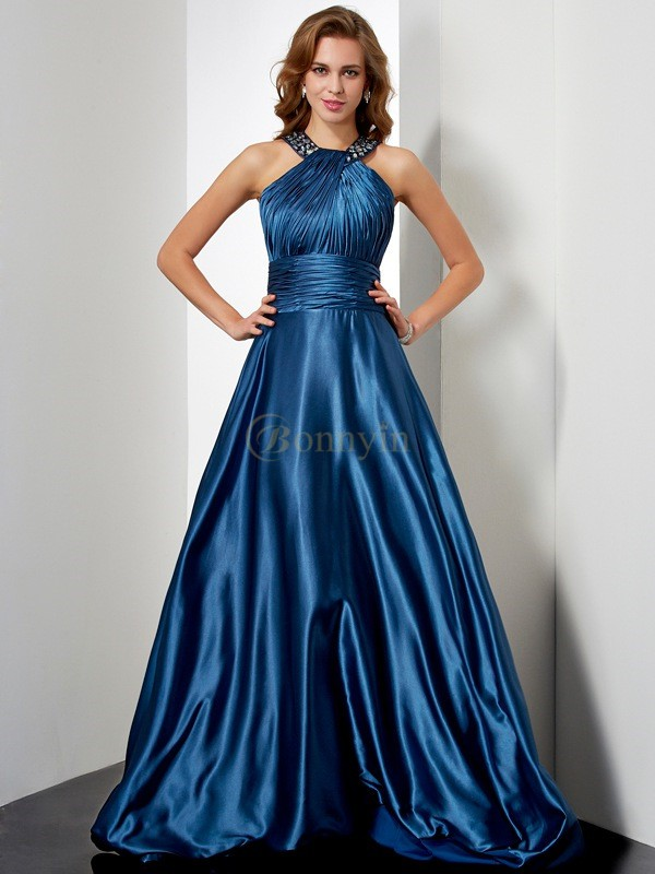 Royal Blue Elastic Woven Satin Halter A-Line/Princess Floor-Length Dresses