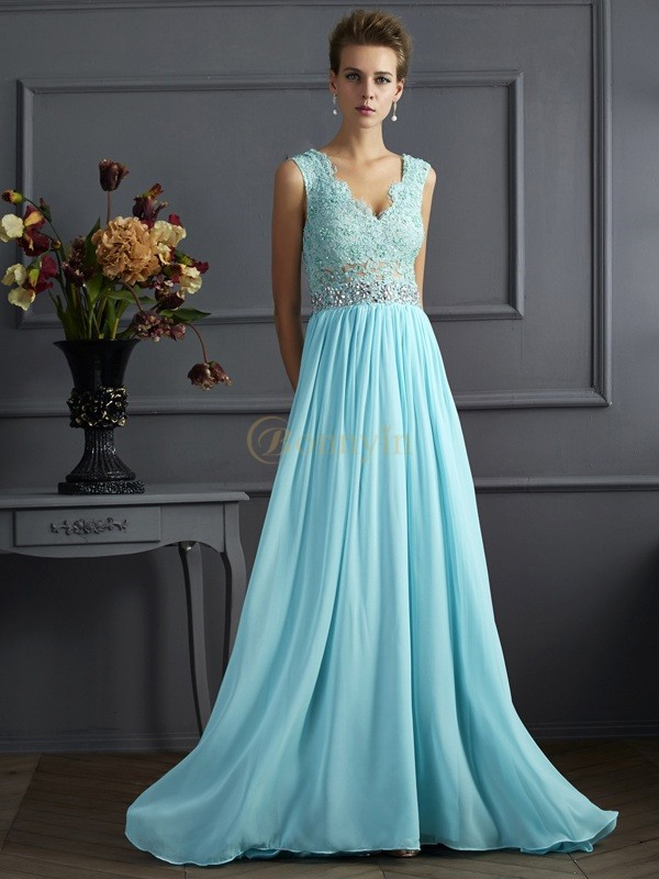 Blue Chiffon Straps A-Line/Princess Sweep/Brush Train Dresses
