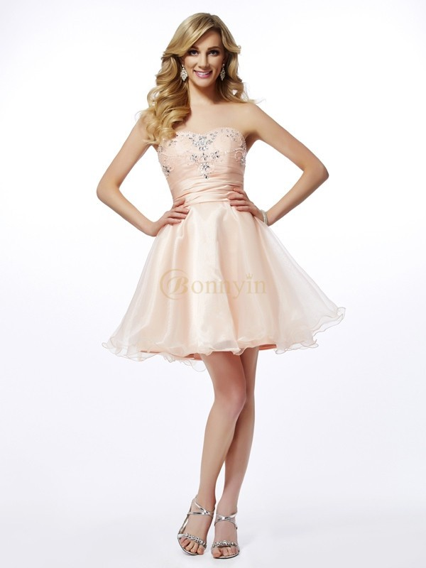 Pearl Pink Tulle Sweetheart A-Line/Princess Short/Mini Cocktail Dresses