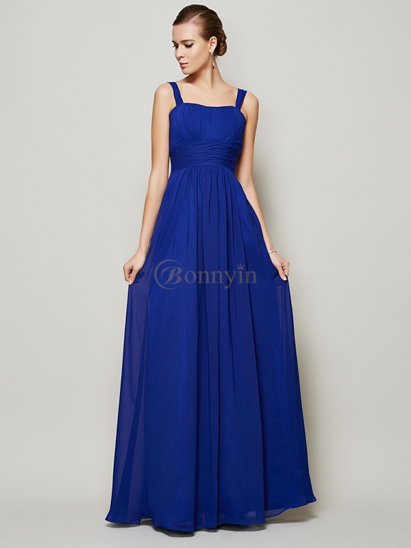 Royal Blue Chiffon Straps Sheath/Column Floor-Length Dresses