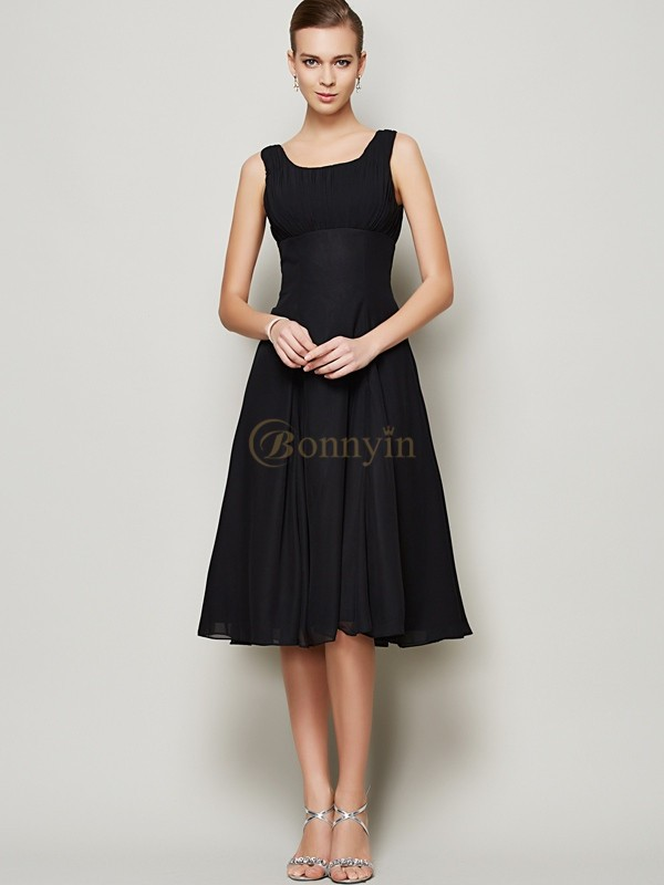 Black Chiffon Straps A-Line/Princess Knee-Length Dresses