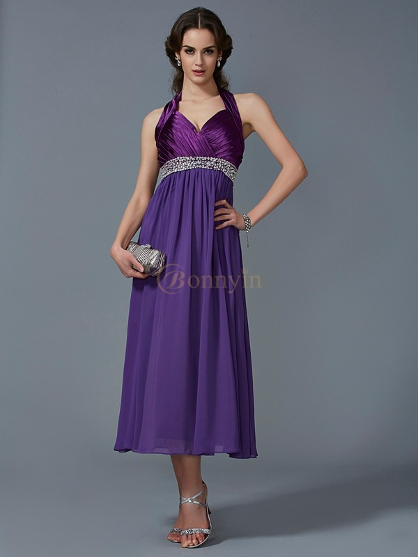 Regency Chiffon Halter A-Line/Princess Ankle-Length Dresses