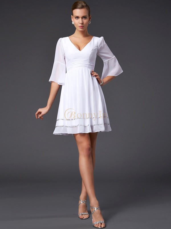 White Chiffon V-neck A-Line/Princess Short/Mini Dresses