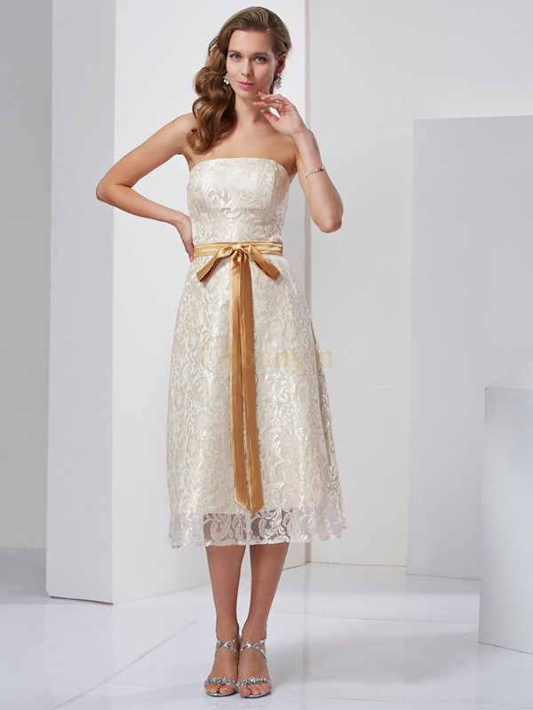 Champagne Satin Strapless Sheath/Column Knee-Length Dresses