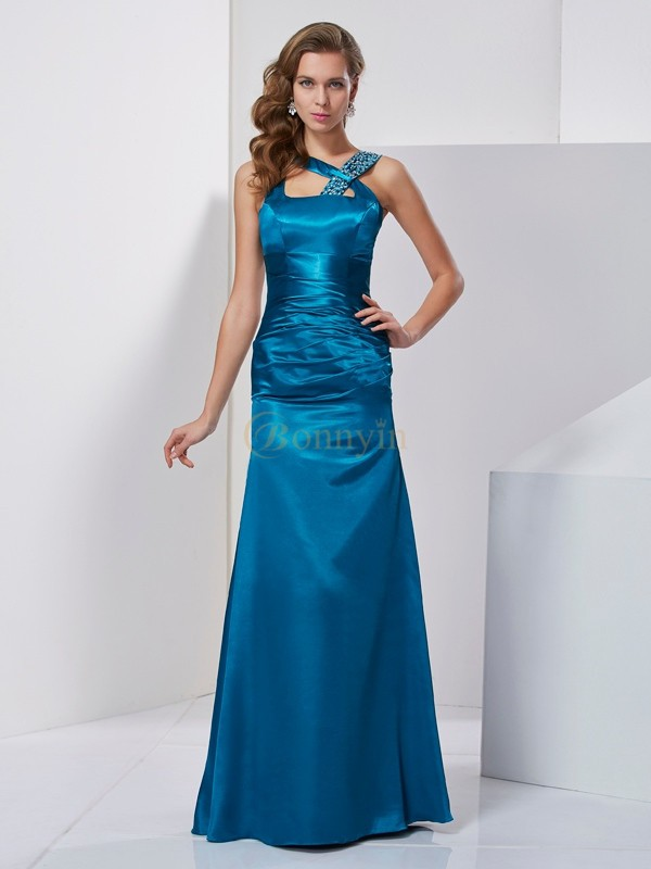 Blue Silk like Satin Straps Sheath/Column Floor-Length Dresses