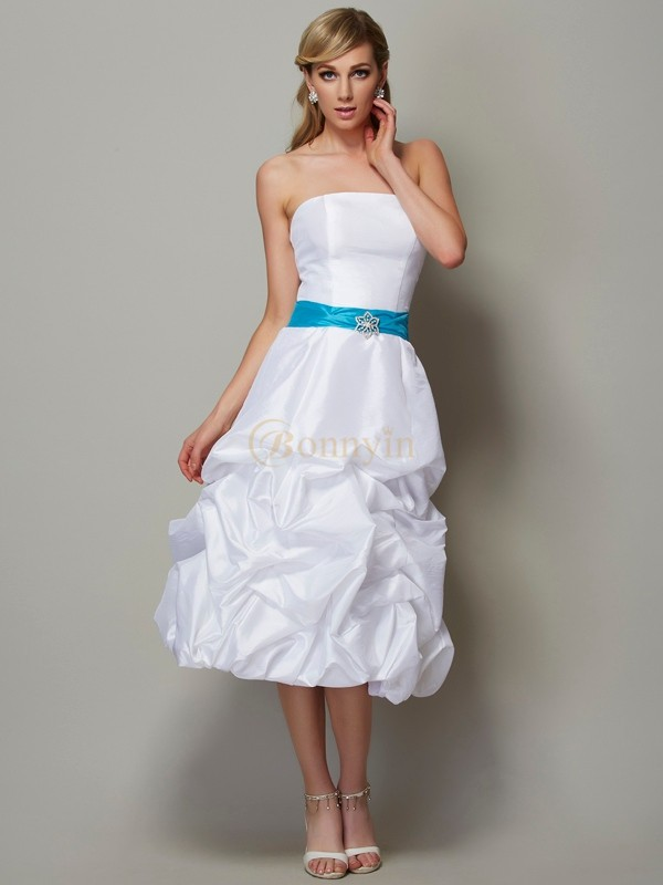 White Taffeta Strapless A-Line/Princess Tea-Length Dresses