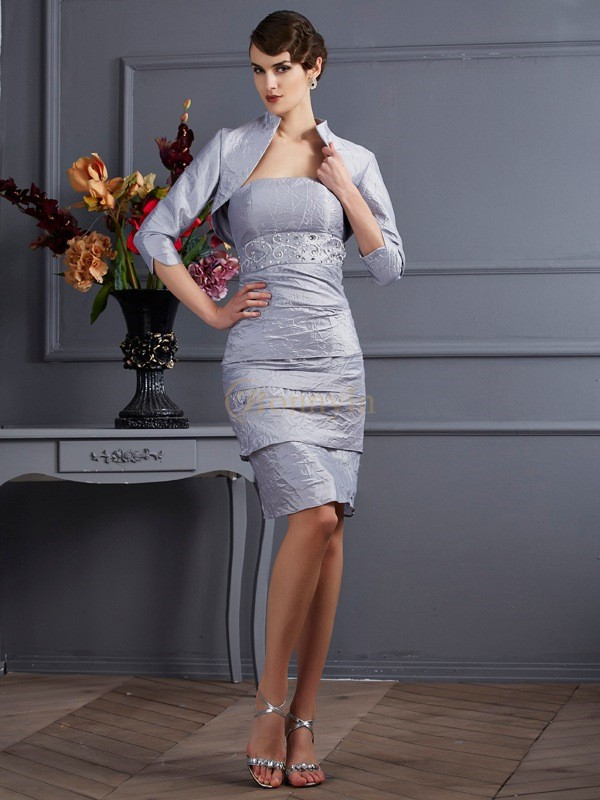 Silver Taffeta Strapless Sheath/Column Knee-Length Dresses