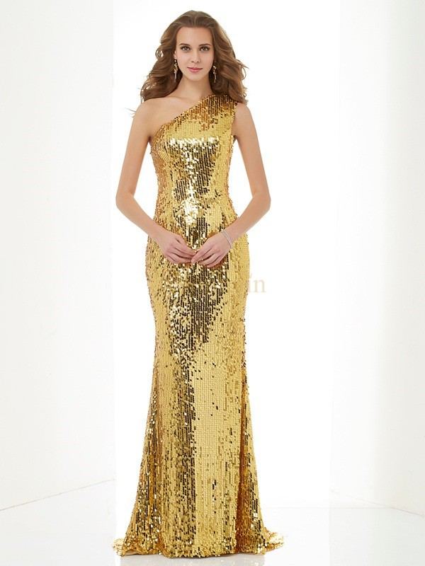 Gold Lace Sequins One-Shoulder Sheath/Column Sweep/Brush Train Dresses