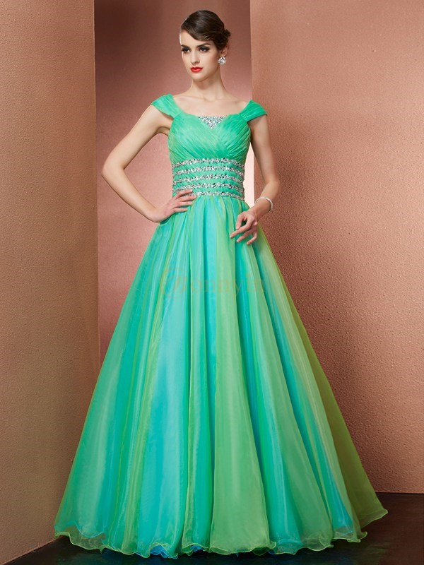 Green Satin Off the Shoulder Ball Gown Floor-Length Dresses