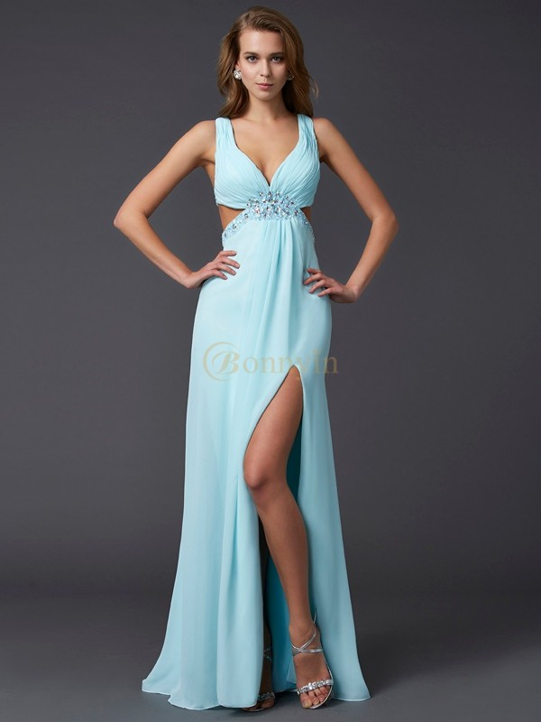 Blue Chiffon V-neck Sheath/Column Floor-Length Dresses