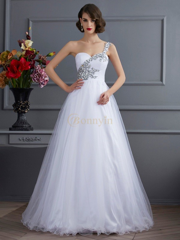 White Elastic Woven Satin One-Shoulder Ball Gown Floor-Length Dresses