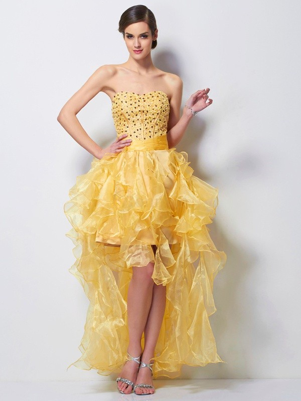 Daffodil Tulle Sweetheart A-Line/Princess Asymmetrical Cocktail Dresses