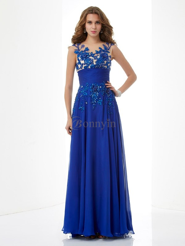 Royal Blue Chiffon High Neck A-Line/Princess Floor-Length Dresses
