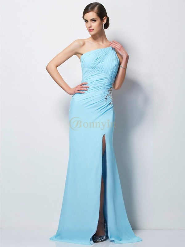 Blue Chiffon One-Shoulder Sheath/Column Sweep/Brush Train Dresses