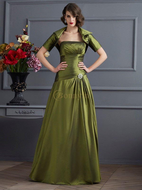 Green Taffeta Strapless A-Line/Princess Floor-Length Dresses