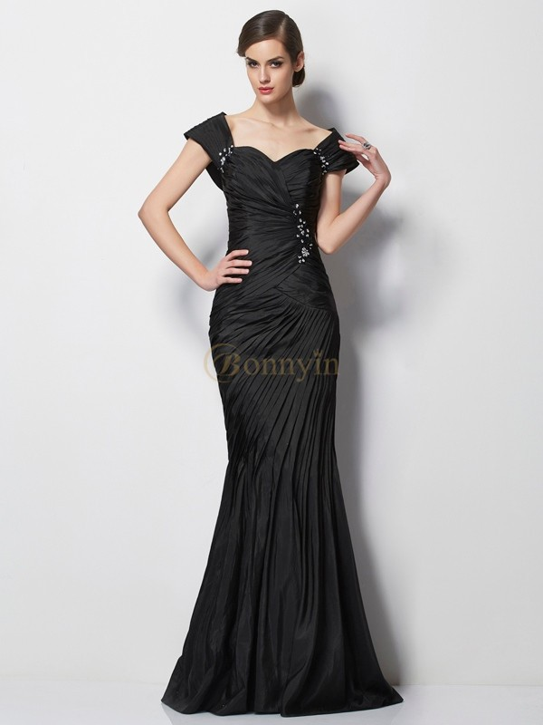 Black Taffeta Sweetheart Trumpet/Mermaid Sweep/Brush Train Mother of the Bride Dresses