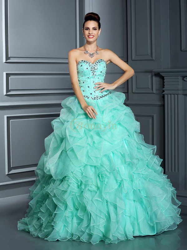 Sage Organza Sweetheart Ball Gown Floor-Length Prom Dresses
