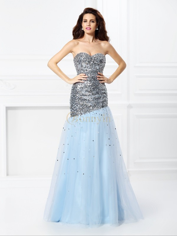 Light Sky Blue Satin Sweetheart Trumpet/Mermaid Floor-Length Prom Dresses