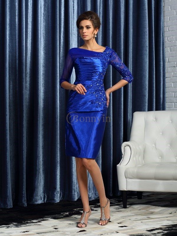 Royal Blue Elastic Woven Satin Sheath/Column Knee-Length Mother of the Bride Dresses