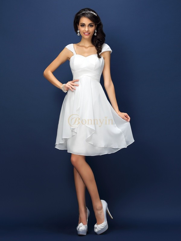 White Chiffon Straps A-Line/Princess Short/Mini Bridesmaid Dresses