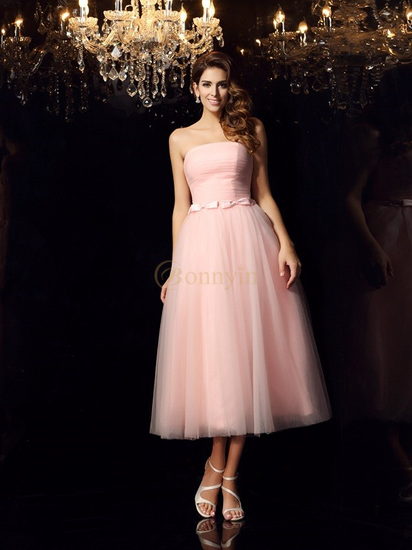 Pink Satin Strapless Ball Gown Tea-Length Prom Dresses