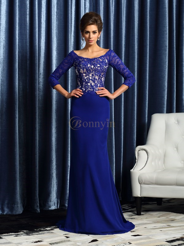 Royal Blue Chiffon Scoop Sheath/Column Sweep/Brush Train Mother of the Bride Dresses
